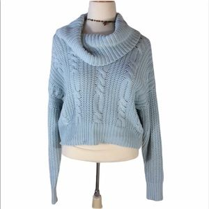 Somdays Lovin Baby Blue Crop Cable Knit Sweater